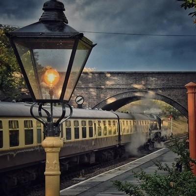 Steam train at dusk