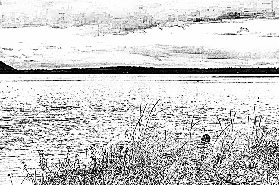 Lone black hat fisherman, hint of a storm, how to leave such stillness