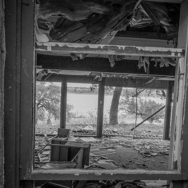 A lakeside abandoned property.