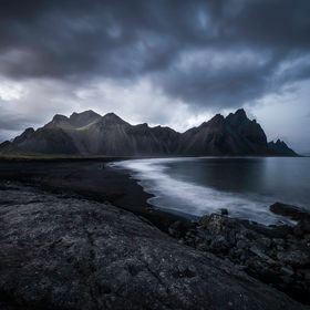 Catching the last light at Vesturhorn mountain, Southeast Iceland.