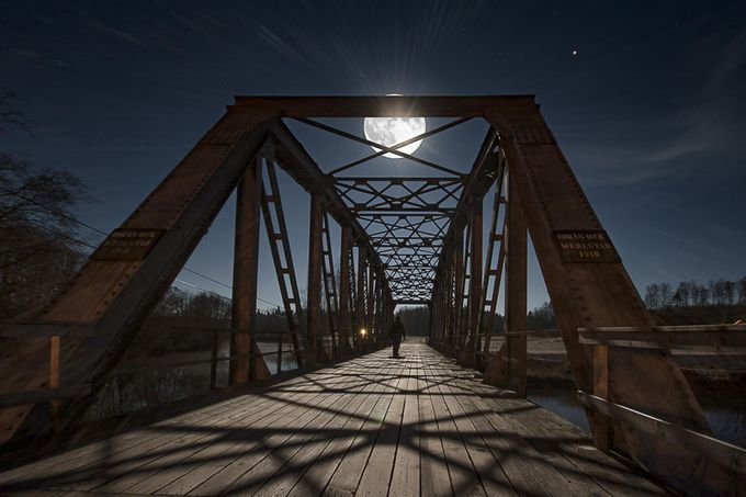 Man on the bridge II by rosbergphoto - Bridges In The Night Photo Contest