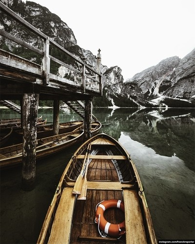 boat at braies lake