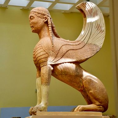 Mythical creature is the Sphinx of Naxos in Delphi, Greece!