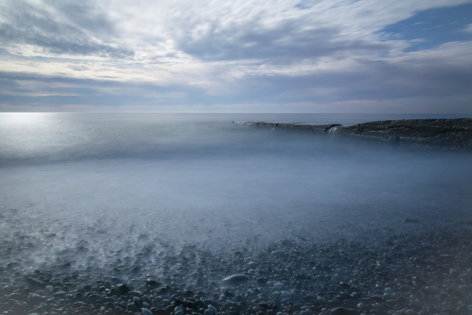 Long exposure shot of Black sea coast