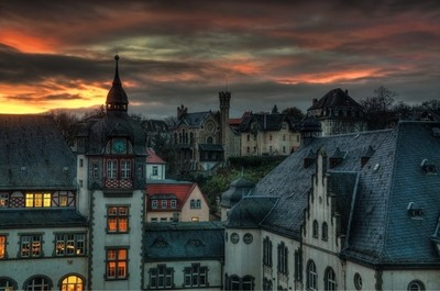 Just after sunset in Jena Germany.