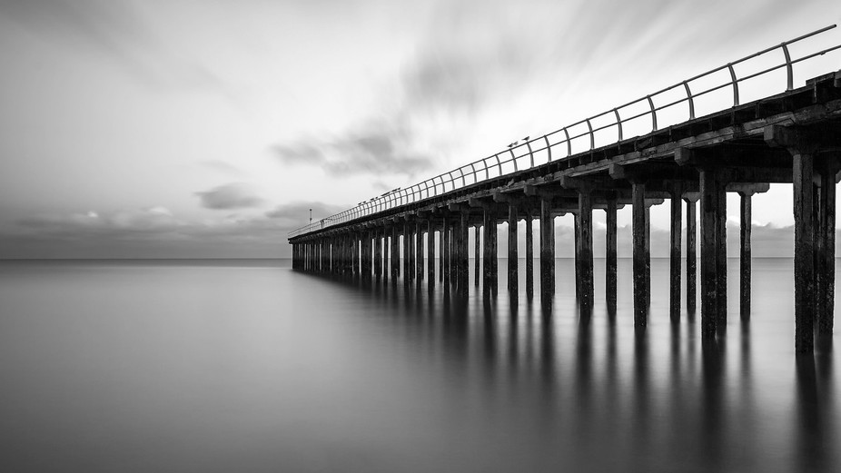 Long exposure shot or a pier in Felixstowe, UK