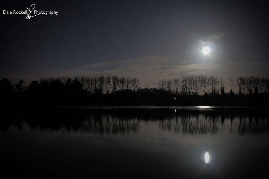 Super Blue Moon over Tiddenfoot Waterside Park, Leighton Buzzard, 31 January 2018