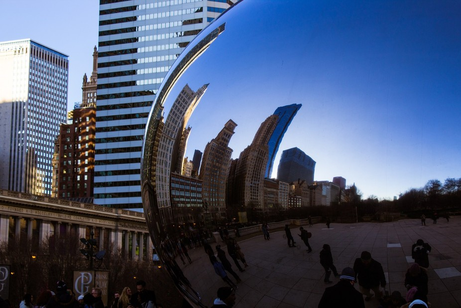 """Taken in Millennium Park, Chicago. This is an odd angle of the famous """"Bean"""". B..."""