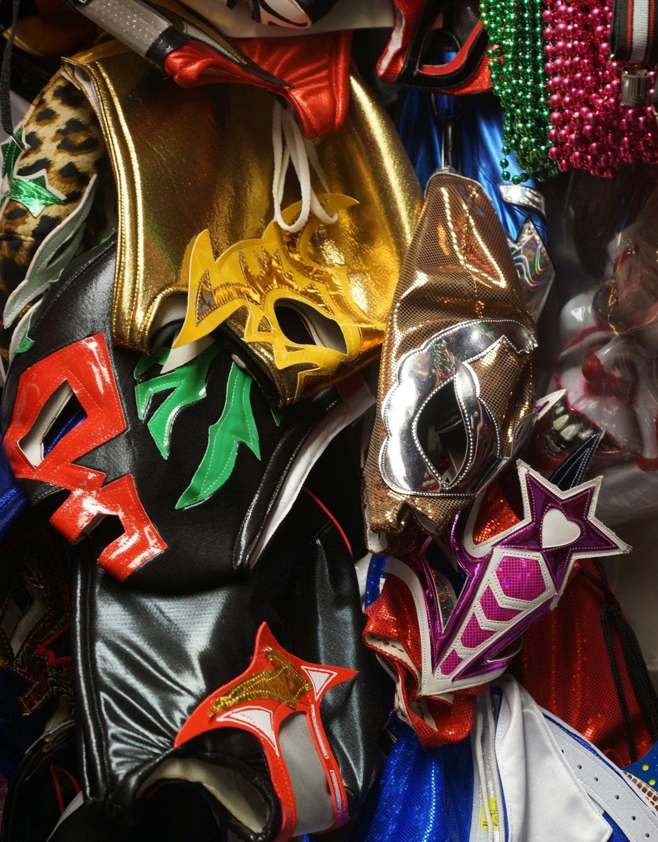 Masked heroes and villains are a part of Mexican modern mythology. These are some of the masks use by these polarity of characters.