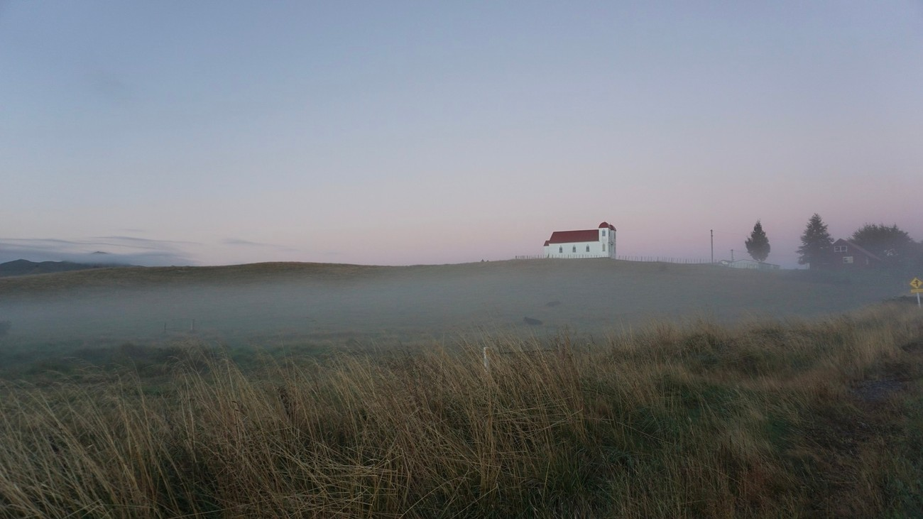 The Ratana church sits above the ground mist early a late summer morning