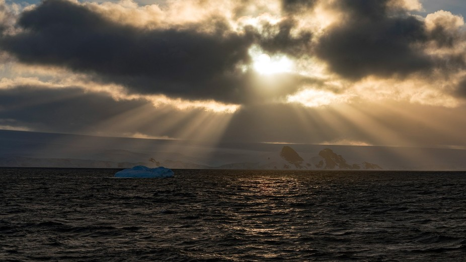 Somewhere out in the Antarctic sound. We were headed to our next landing and before the sun set c...