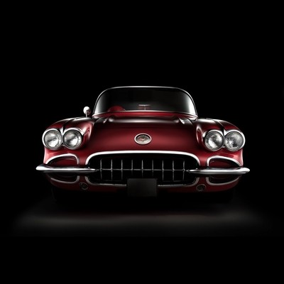 Classic Corvette front view photograph using the fdl technique. The final image consist of 6 images that were layerd using Photoshop.