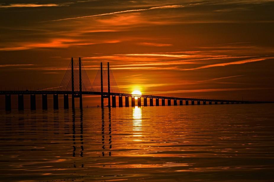 Sunset over Oresund bridge