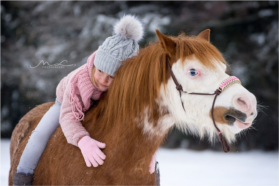 A little Girl and her Welsh Pony Frodo.