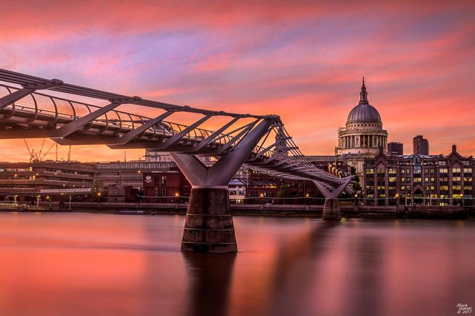 Millennium Bridge and St Paul's Cathedral at Sunset by miommi - Sunset And The City Photo Contest
