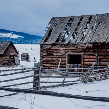 An old barn stands in ruins near Merritt B C