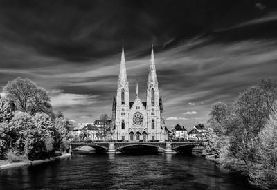 Church Saint Paul panoramic infrared view, Strasbourg, France
