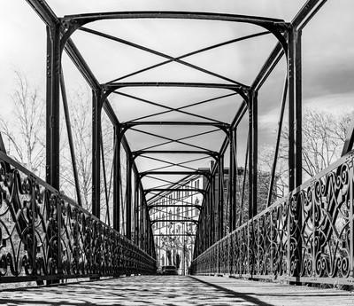 Open-work steel arcs of old bridge in Strasbourg, France
