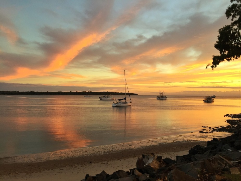 This is the Burrum River which flows out to meet the Pacific Ocean at Burrum Heads in Queensland, Australia, a sleepy little fishing village. Watching the ever-changing colors of sunrises over the river is one of my favorite things to do.