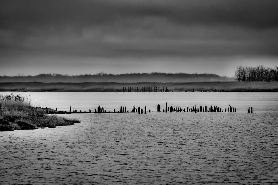 A rainy Sunday afternoon on a deserted, abandoned, Chesapeake Bay beach.