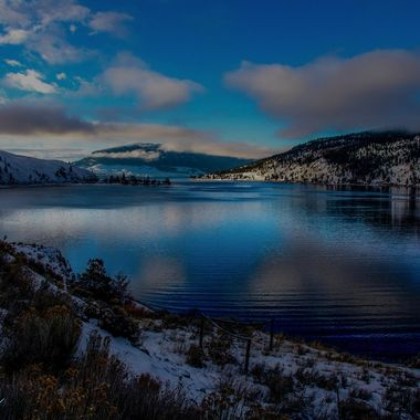 This Is Nicola Lake on a winter evening