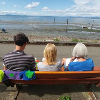 All caught reading at the beach - Qualicum Beach 15 July 2017