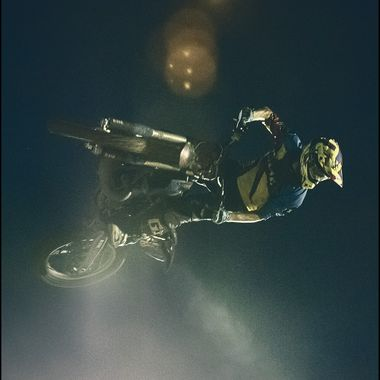 FMX rider, Reece Chinery, getting his bike sideways in the air during the Semi Finals of the King of the Whip contest in Johannesburg, South Africa