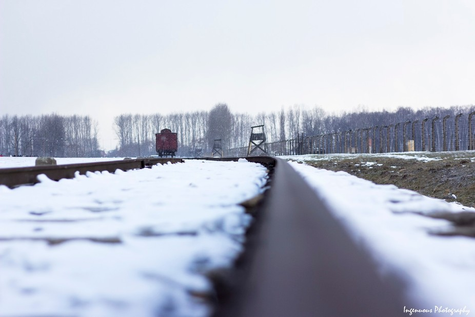"""Auschwitz II-Birkenau"" The wagon is intended to symbolize the deportation of J..."