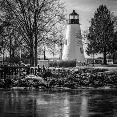 Concord Point Lighthouse, Havre De Grace MD, thawing after deep freeze