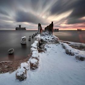 Beautiful winter landscape, and Baltic Sea, Gdynia , Poland