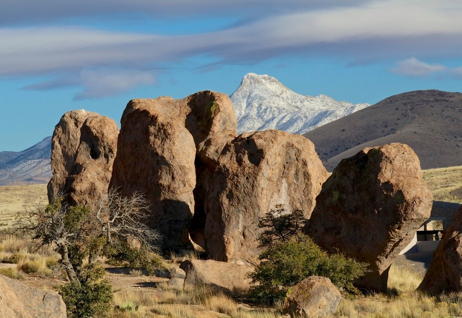 Cooks Peak is a remaining part of a volcano. This is being viewed from the City of Rocks in new M...