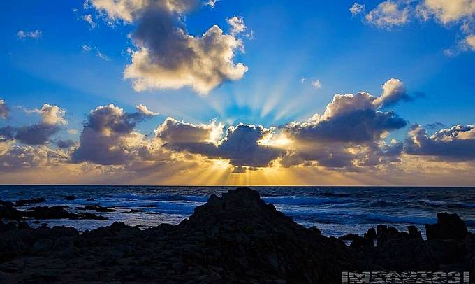 Coastal Sun Rays piercing the storm clouds on thr central california coast...