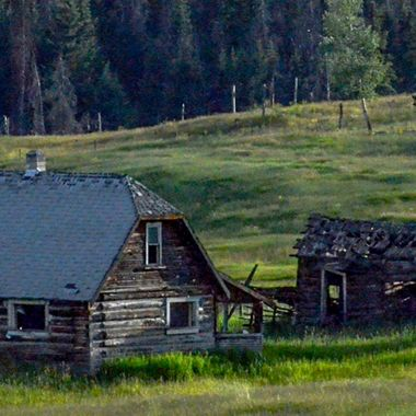 An Old Homestead in a meadow near Logan Lake B C