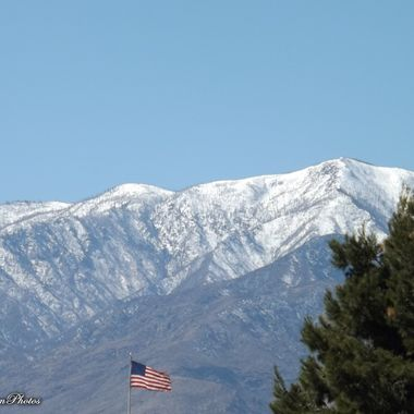 Snow capped Mt Graham AZ with Stars and Stripes