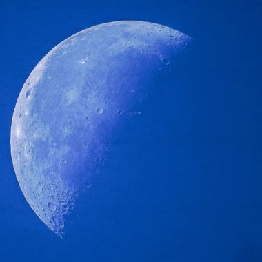 A shot of the last half of the moon