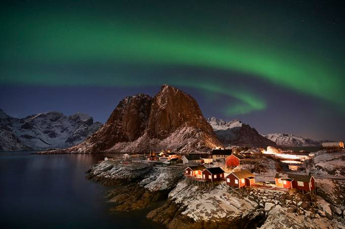 Hamnoy Bridge Northern Lights by vitoservideo - The Night And The Mountains Photo Contest