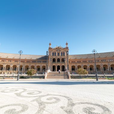 a beautiful sunny day at La Plaza De Espana in Seville
