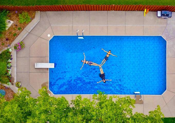 Trifecta Aerial Pool Girls by PhotoLogic-SightFlight - Image Of The Month Photo Contest Vol 31