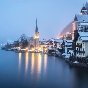 A beautiful winter evening in the magical city of Hallstadt, Germany.