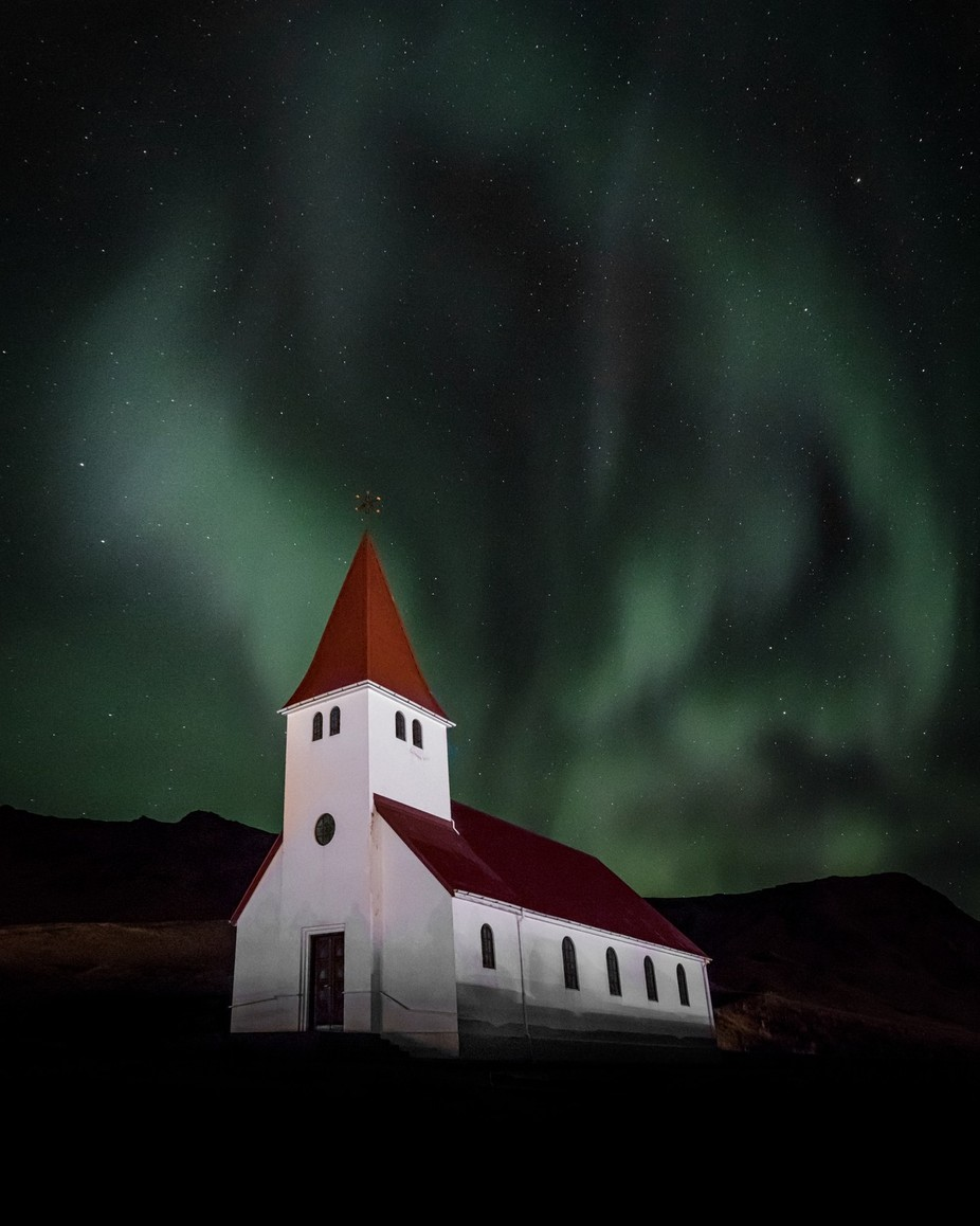 Vik Aurora Church by bengreenphotography - Night Wonders Photo Contest
