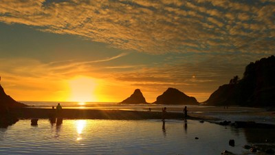 Silhouettes at Devils Beach, Below Heceta Lighthouse, Sunset