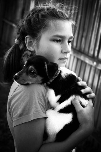 Resting Puppy B & W