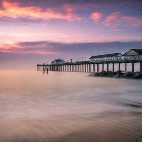 The sky starting to colour up as dawn breaks over Southwold.