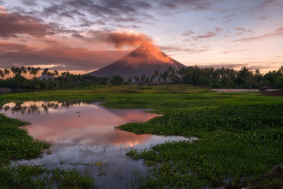 Volcano on Fire! Morning light just touching the tip of the volcano revealing its rugged yet beau...