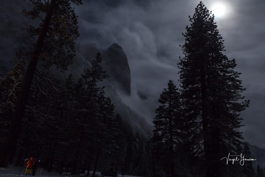 Early morning moon parting a clearing storm in Yosemite Valley, Yosemite National Park