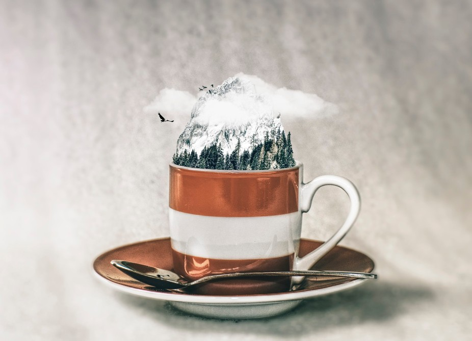 manipulated espresso cup