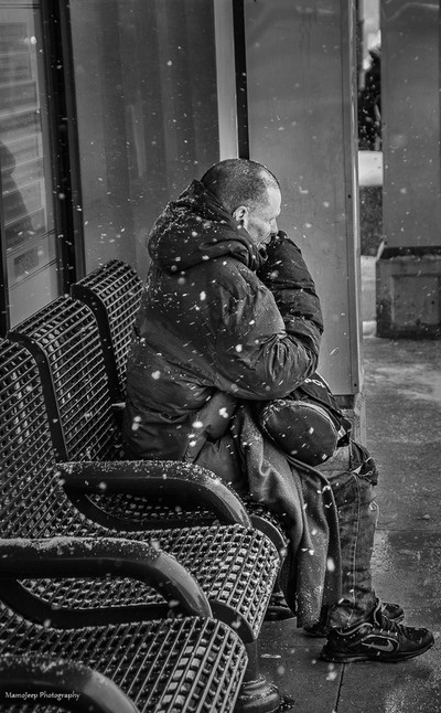 homeless on the bench