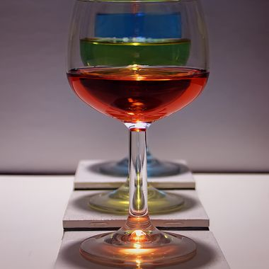 Wine glasses with colored water