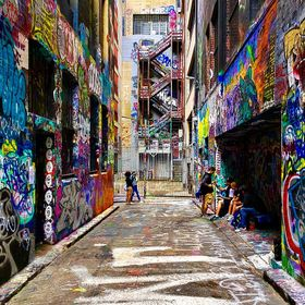 Graffiti Lanes of Melboure. A young group of film makers taking a short break | Melbourne | VIC | Australia