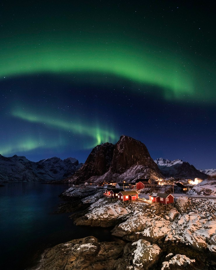 Hamnoy Aurora  by lddove - Towns In The Winter Photo Contest
